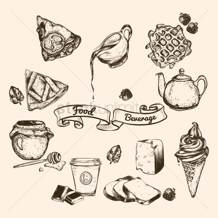 Vectors : Hand drawn food beverage
