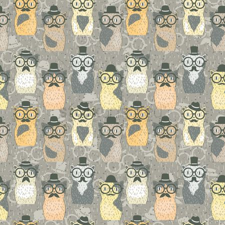 Cute : Hipster cats pattern