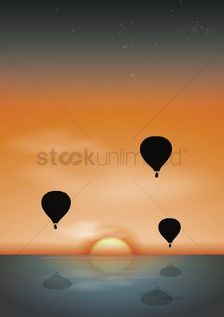 Sun : Hot air balloons with sunrise background