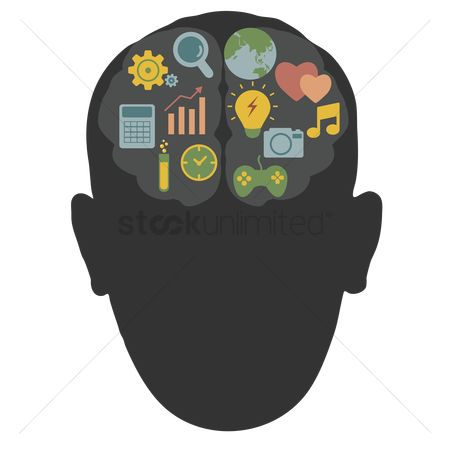 Concepts : Human head silhouette with brain art