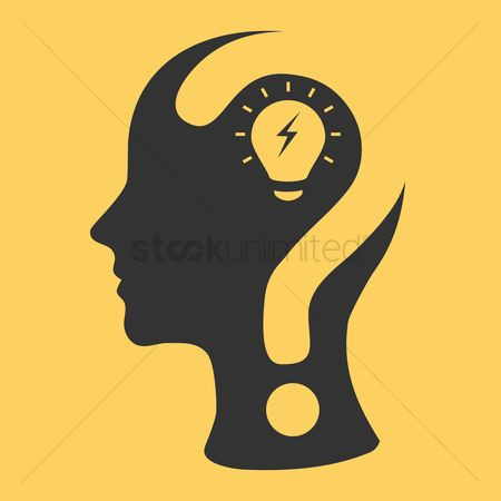 Brain : Human head with question mark and bulb