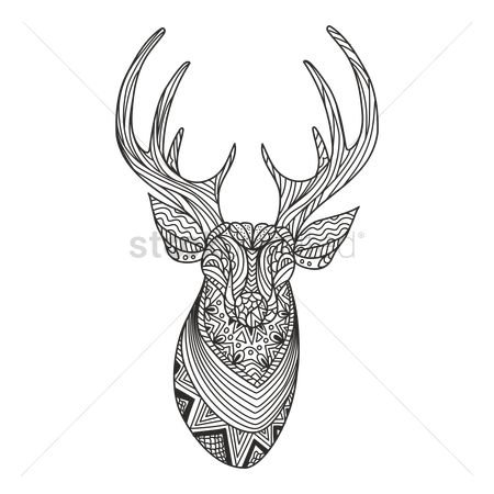 Animal : Intricate reindeer design