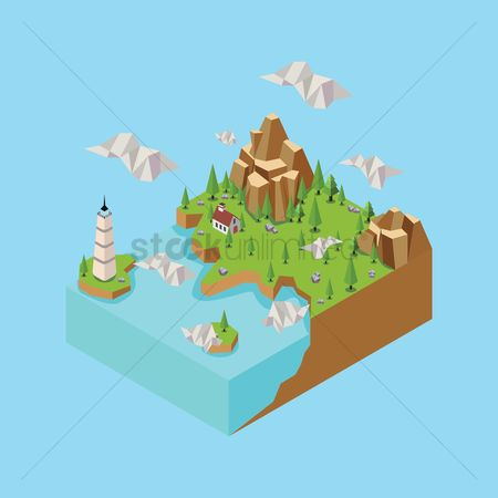 Water : Isometric landscape with lighthouse