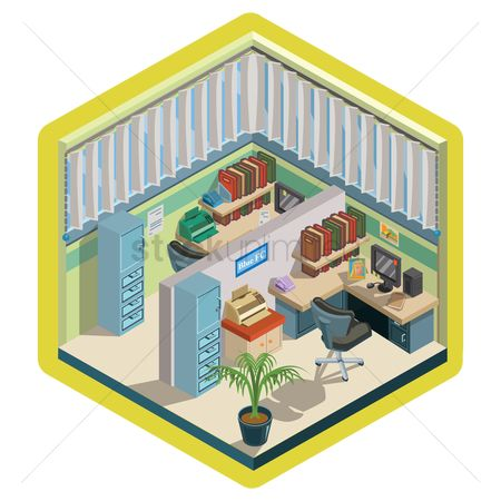 Interior : Isometric office interior design