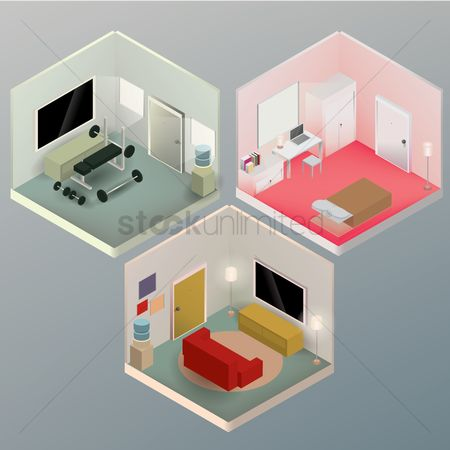 Interior : Isometric rooms