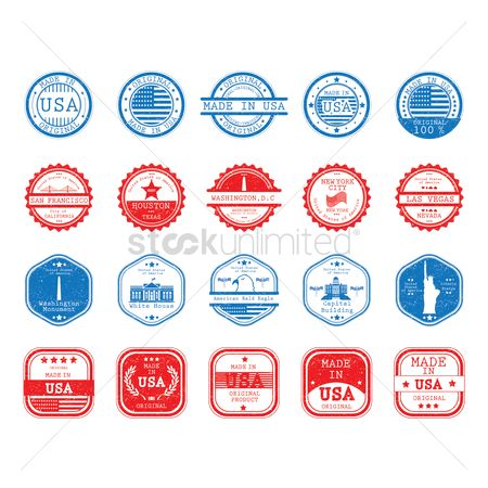 Buildings Landmarks : Landmarks and made in usa labels collection
