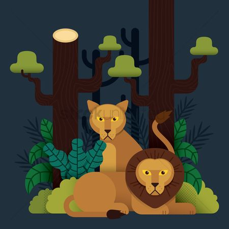 Tree : Lion and lioness background