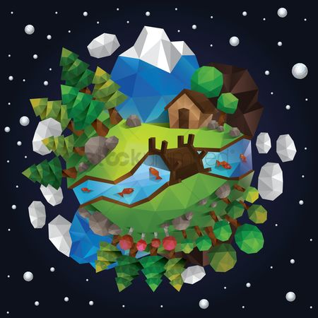 Star : Low poly of countryside
