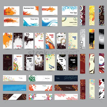 Background : Mix collection of banners and businesscards
