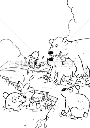 Water : Polar bear with cubs