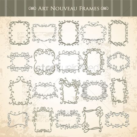 Grunge : Set of art nouveau frames