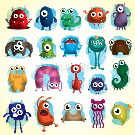 Icons : Set of cute monster icons