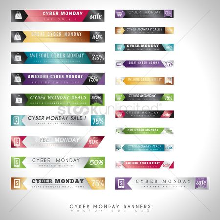 Vectors : Set of cyber monday sale banners