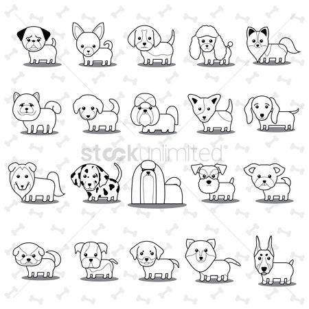 Cute : Set of dogs