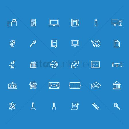 School : Set of education icons