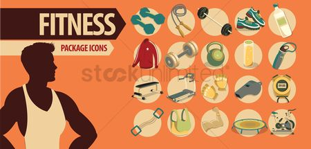 Infographic : Set of fitness icons