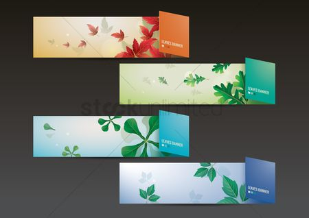Banners : Set of leaves banners