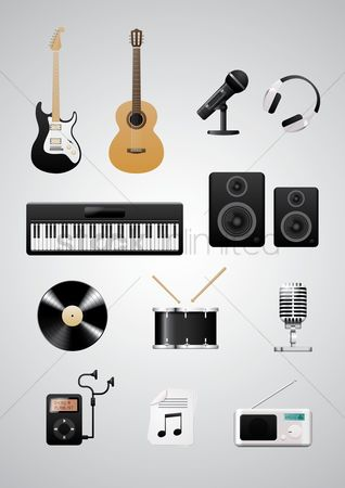 Music : Set of musical instruments