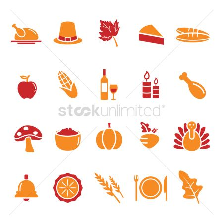 Vectors : Set of thanksgiving day icons