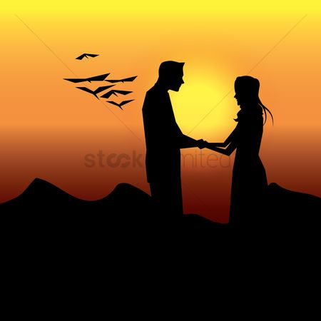 Romantic : Silhouette of couple holding hands