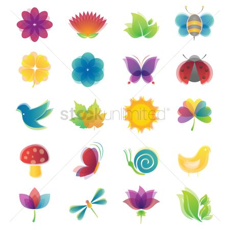 Birds : Spring icon set