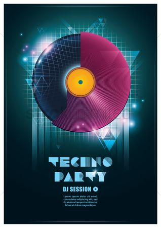 Music : Techno party poster
