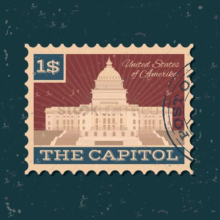Buildings Landmarks : The us capitol building postal stamp