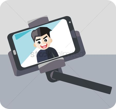 Selfie : Using a monopod to take photo of self