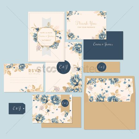 Floral : Wedding invitation and thank you card
