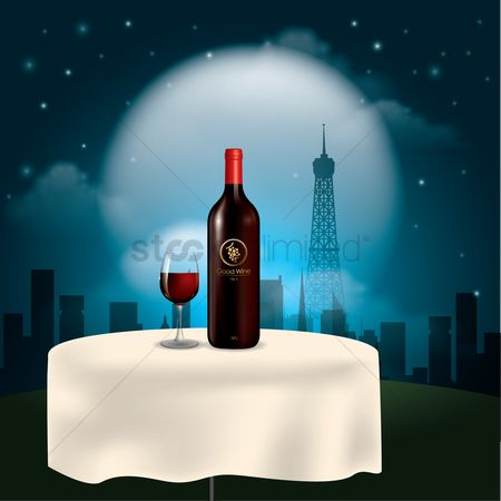 Romantic : Wine bottle with glass