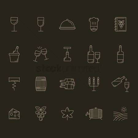 Celebration : Wine icon set
