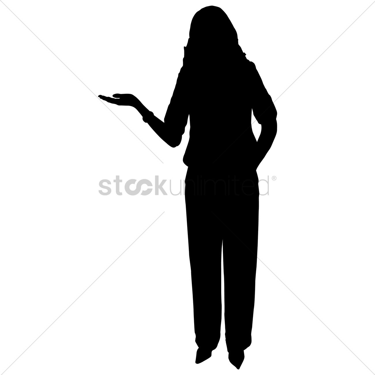 Businesswoman presenting silhouette Vector Image - 1463642 ...