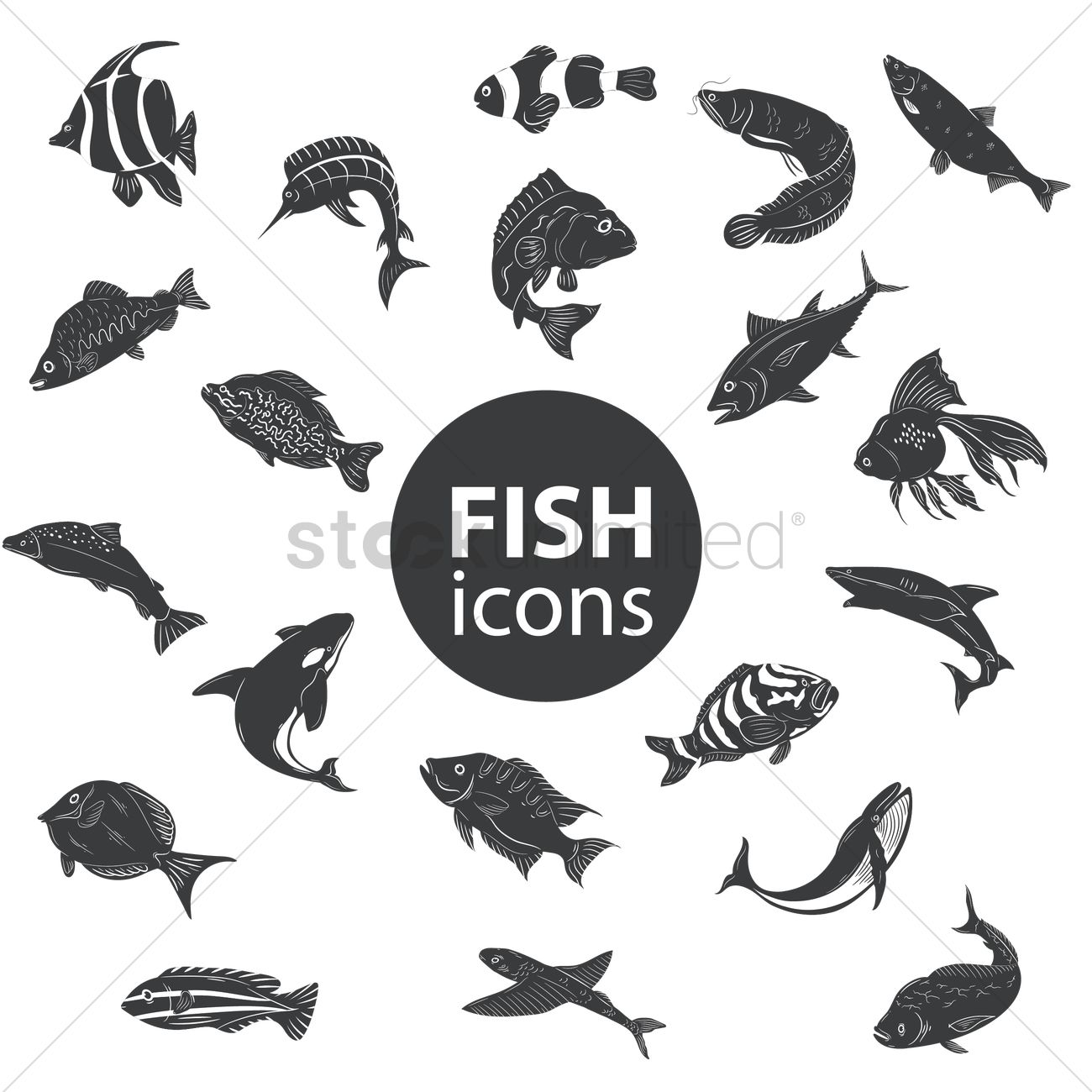 free fish icons vector image 1528350 stockunlimited
