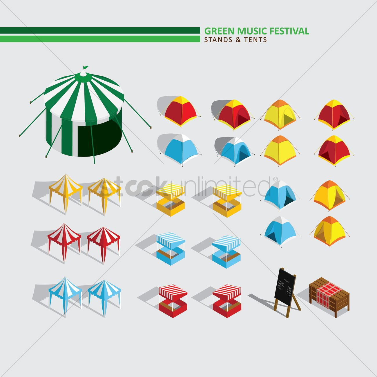 Green Music Festival Stands And Tents Vector Image