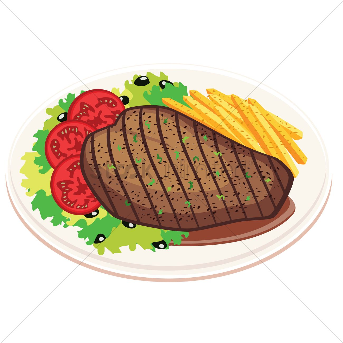 Grilled steak with fries and salad Vector Image - 1236546 ...