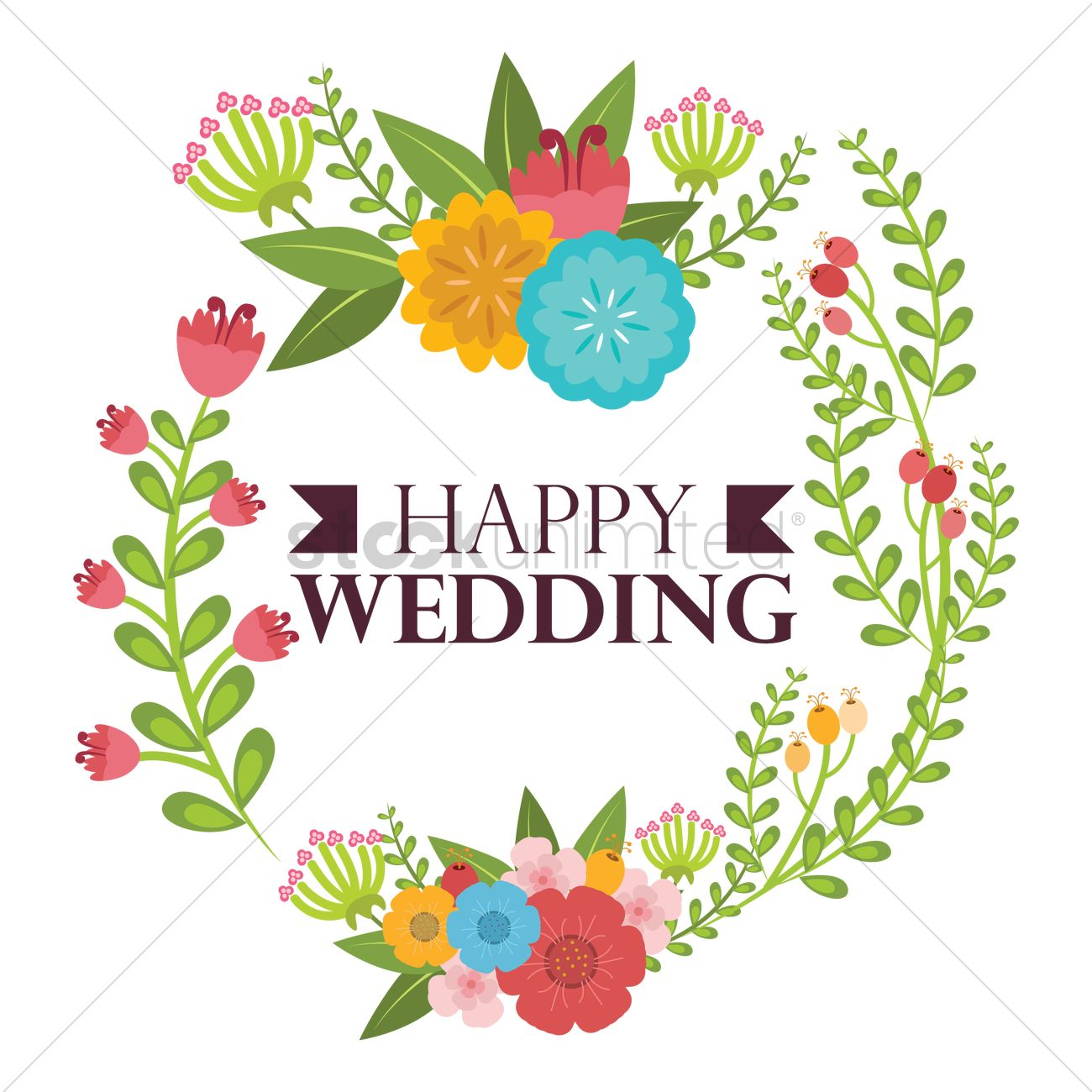 Happy Wedding Vector Image 1797282 Stockunlimited
