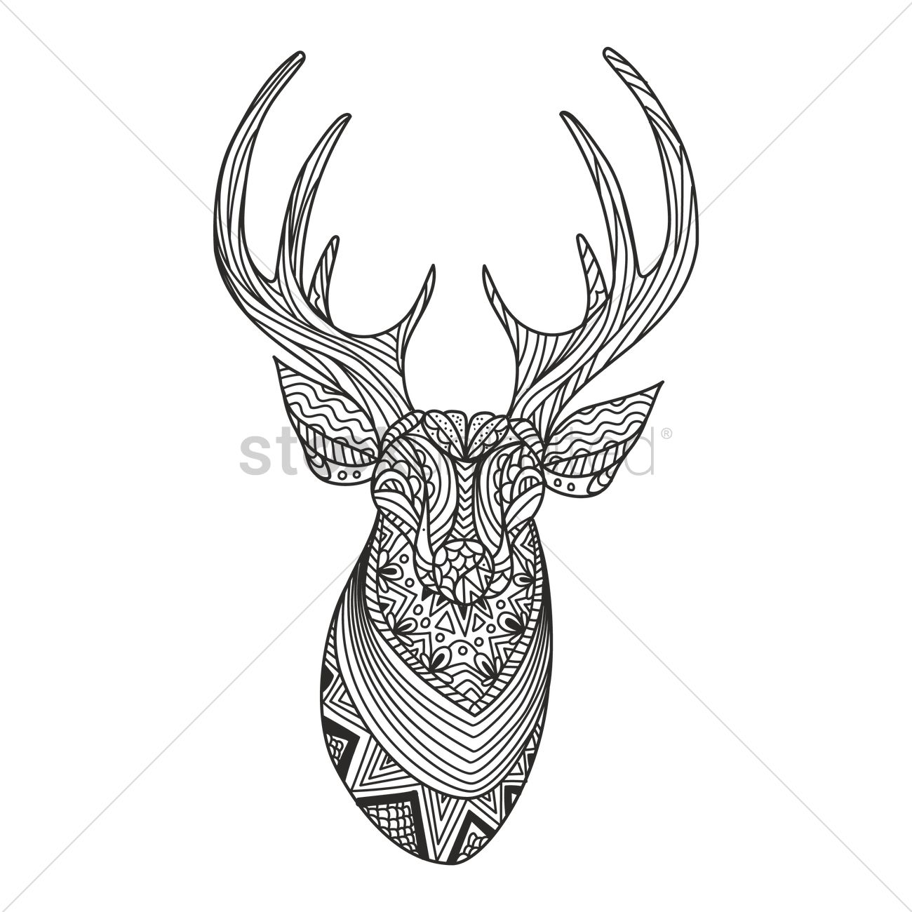 Reindeer Face Line Drawing : Intricate reindeer design vector image