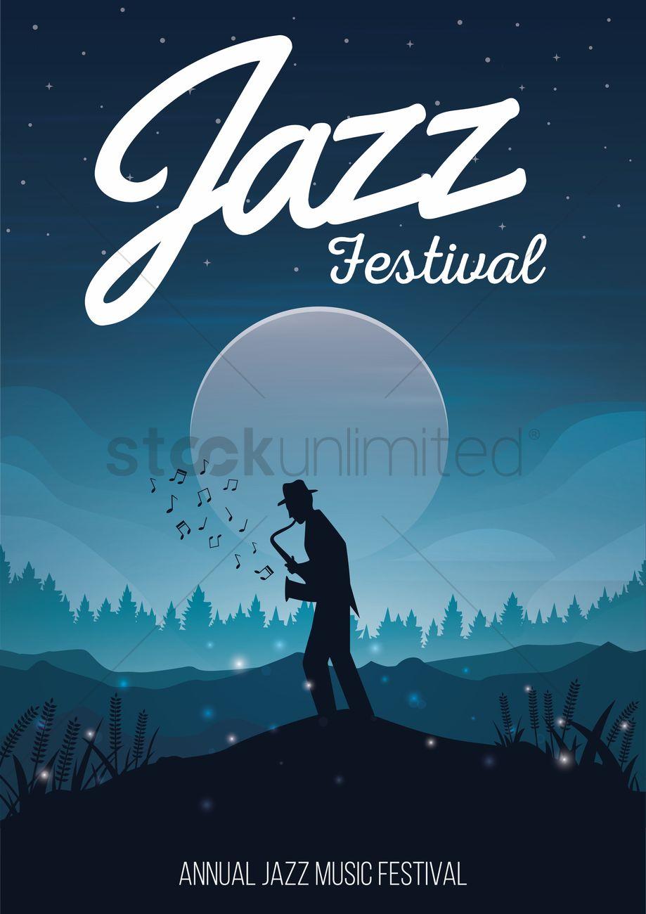 Poster design music - Jazz Festival Poster Design Vector Graphic