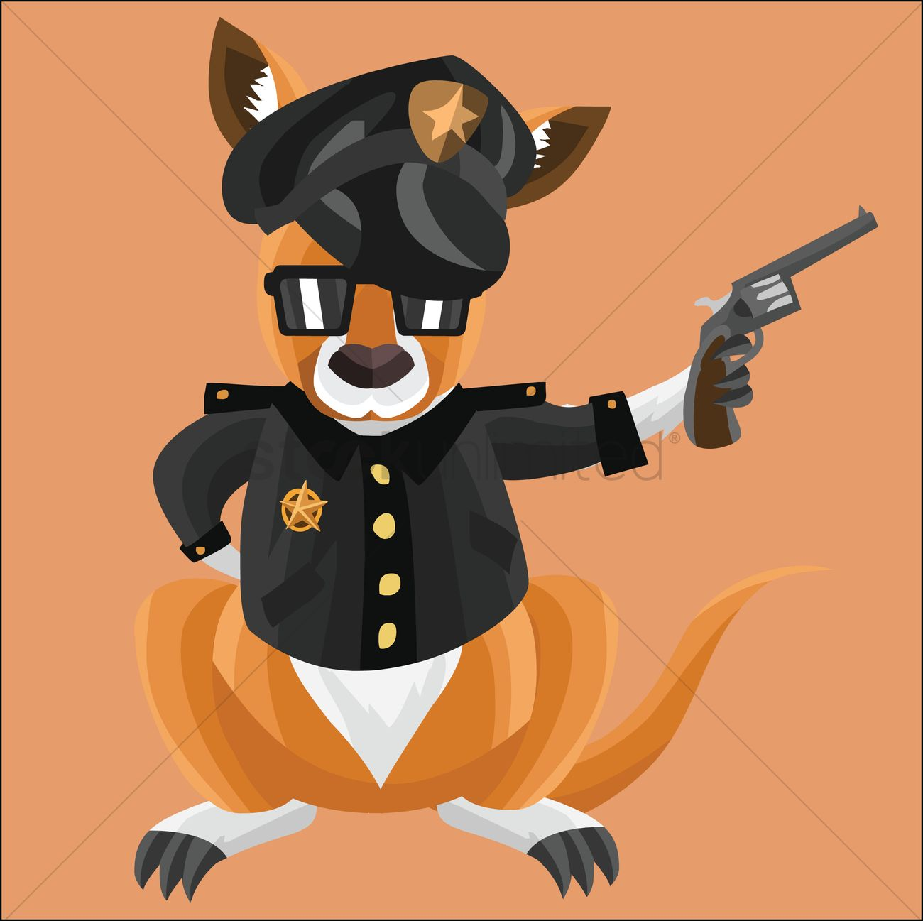 kangaroo as a cop on peach background vector image 1258902