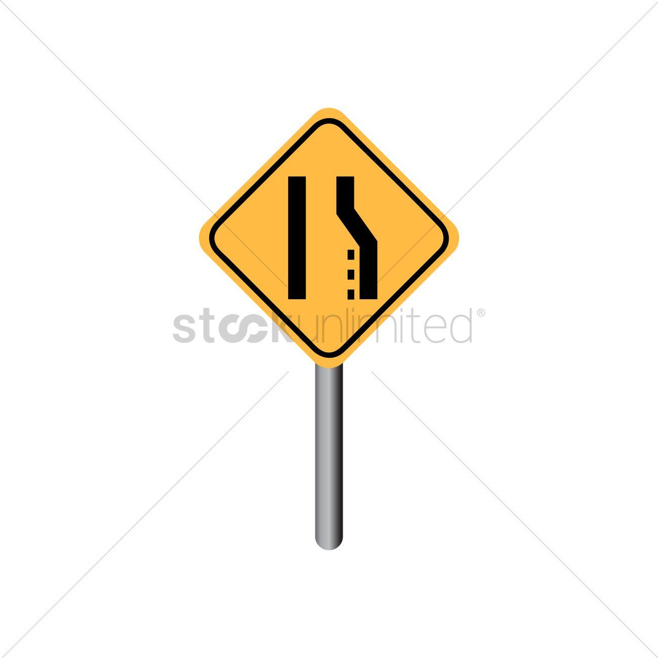 right lane ends sign vector image 1544878 stockunlimited