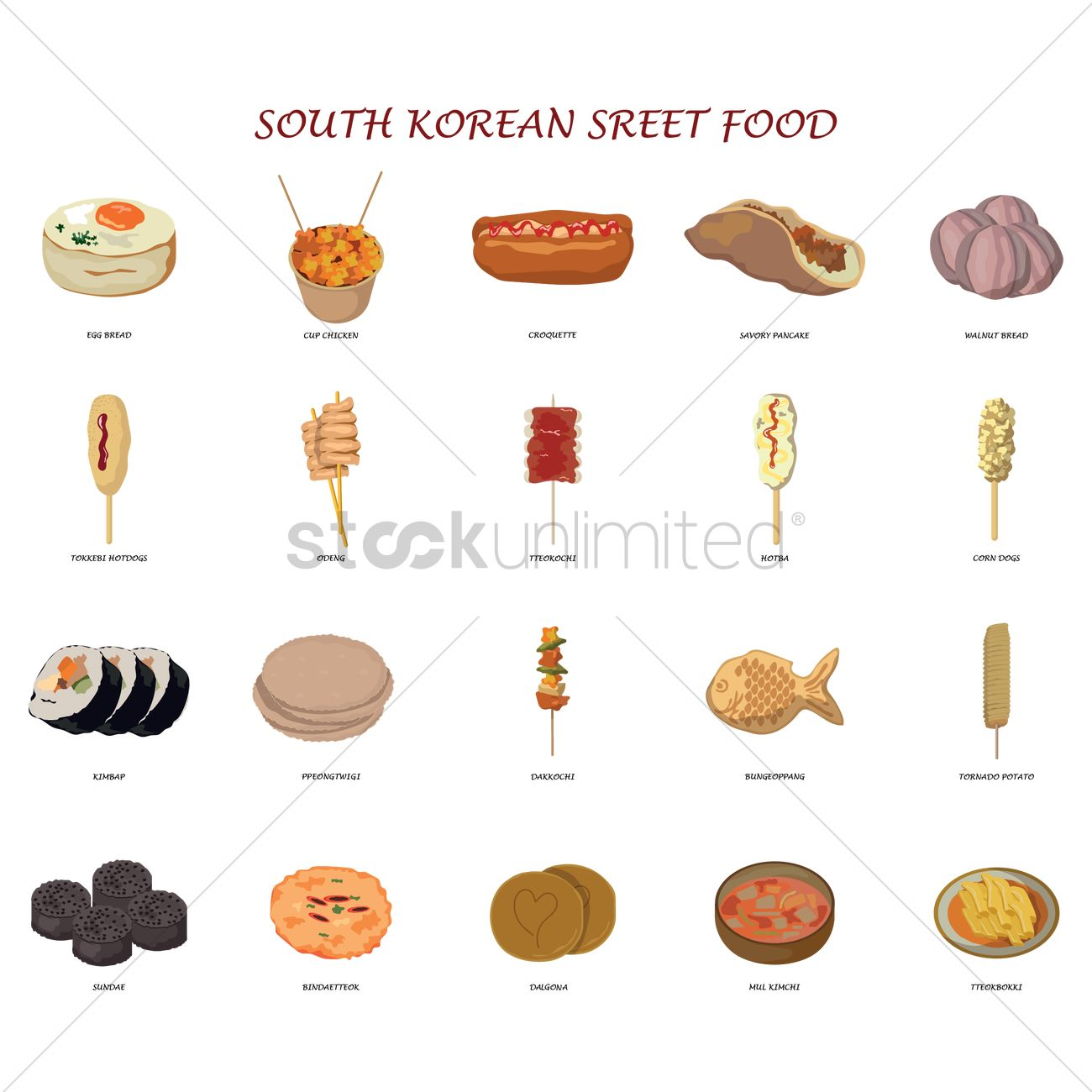 Set Of South Korean Street Food Icons Vector Image