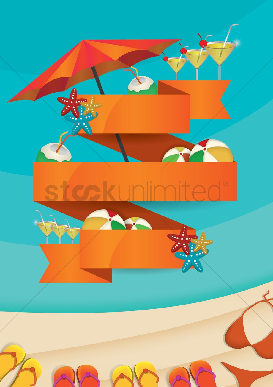 Summer beach party concept with empty banner Vector Image ...
