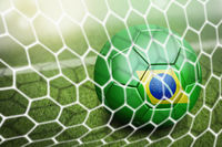 Brazil soccer ball in goal net