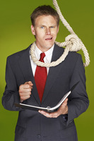 Businessman feeling uncomfortable with a rope hanging around his neck