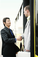 Businessman greeting his client