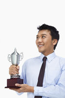 Businessman with a trophy