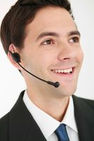 Businessman with telephone headset