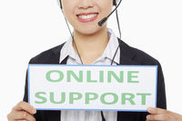 Businesswoman holding up an online support