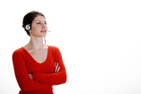 Businesswoman talking on the headset