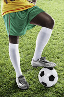 Cameroon soccer player ready for kick off
